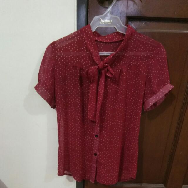 Red Chiffon Polka Dot With Tie Ribbon Top