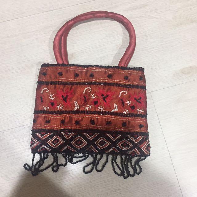 Rustic Beaded Bag
