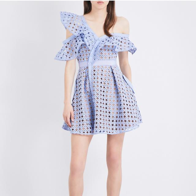 Reduced Self Portrait inspired Guipure frill Lace Dress Blue