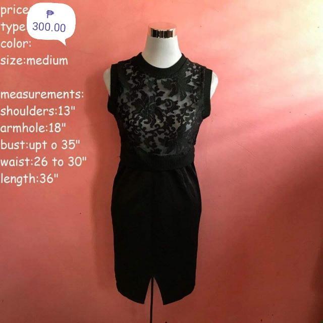Semi Formal Black Dress (See Through Top)