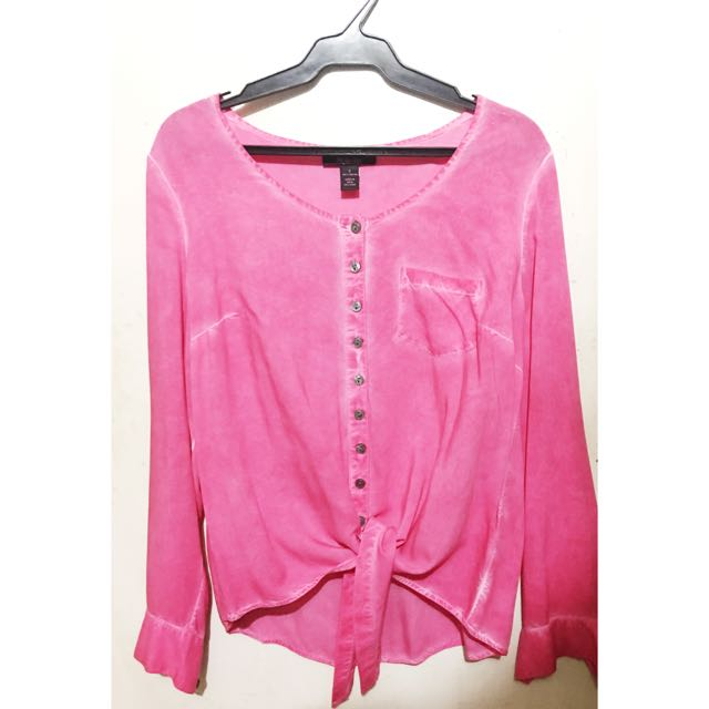 Style&co Pink Button Shirt with Front Tie