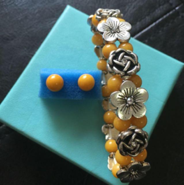 Sunshine Yellow Earring And Bracelet  set