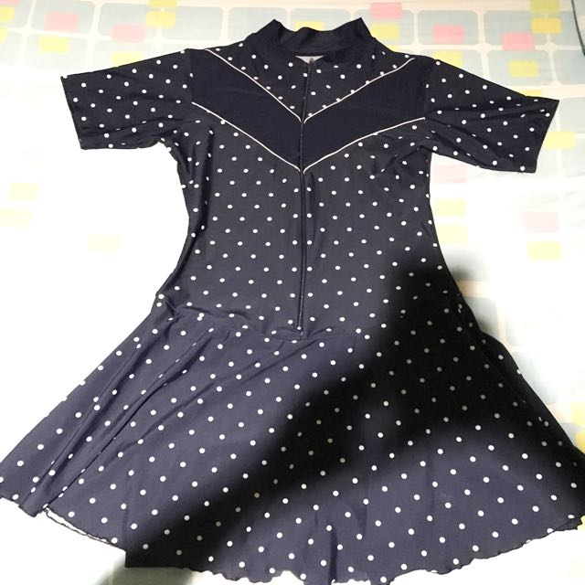 Swimdress Swimwear Baju Renang Polkadot Navy