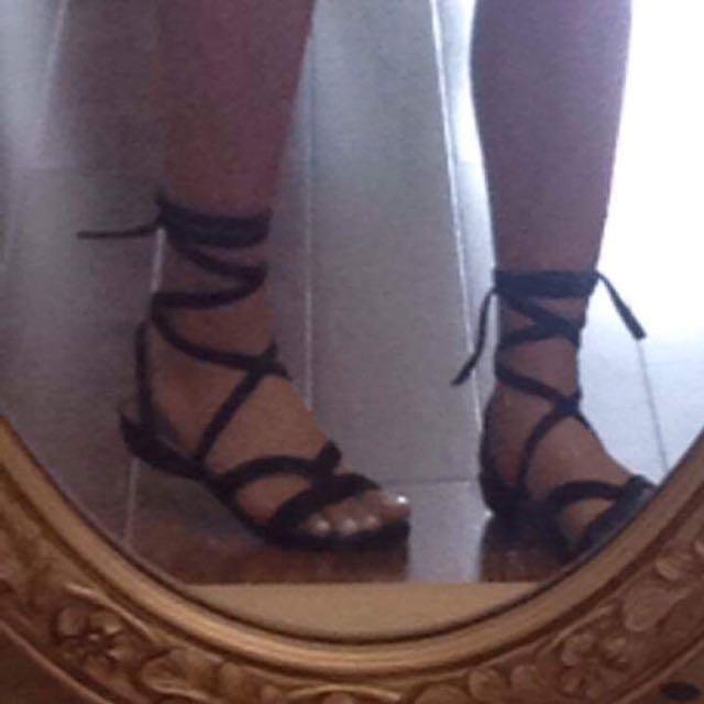 Black Suede Tie-up Sandals