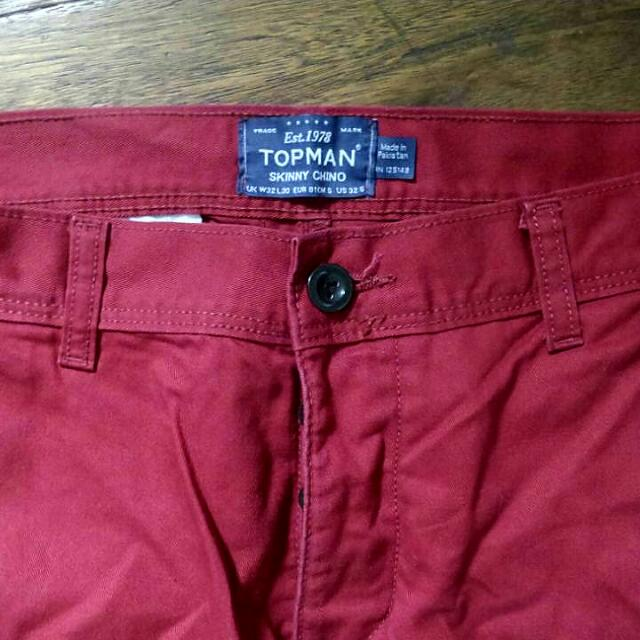 Topman Skinny Red Chinos Size 32