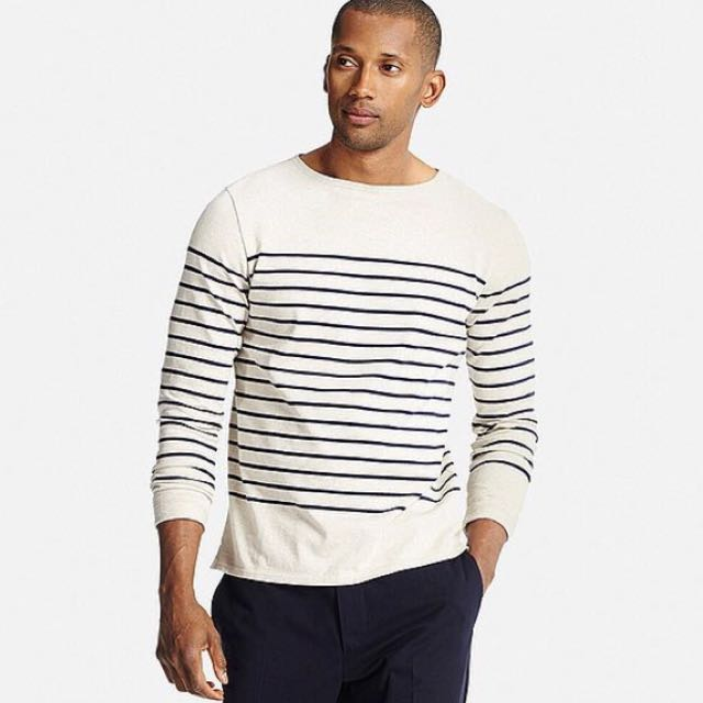 c3a12e90ad Uniqlo Men's Washed Striped Boat Neck Long Sleeve T-Shirt, Men's Fashion,  Clothes on Carousell