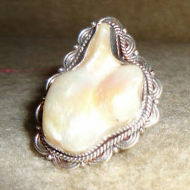 Unique 925 Sterling Blister Pearl Ring Size 7
