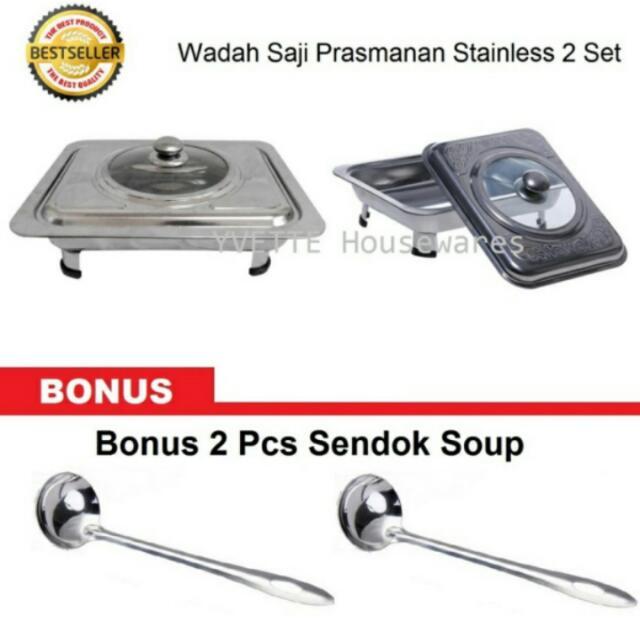 Wadah Saji Prasmanan Stainless + Free 2 Sendok Soup