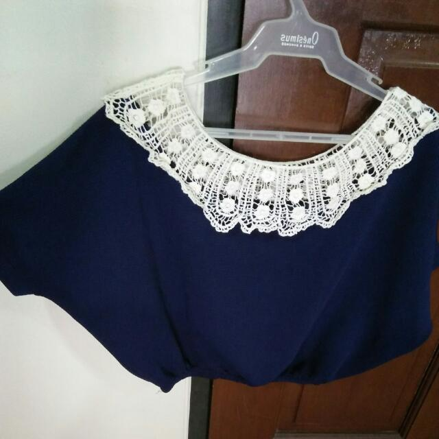 White Crocheted Navy Blue Collared Crop Top