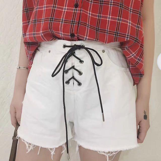 White Lace Up Denim Shorts