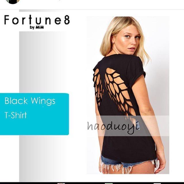 Wings Black T Shirt
