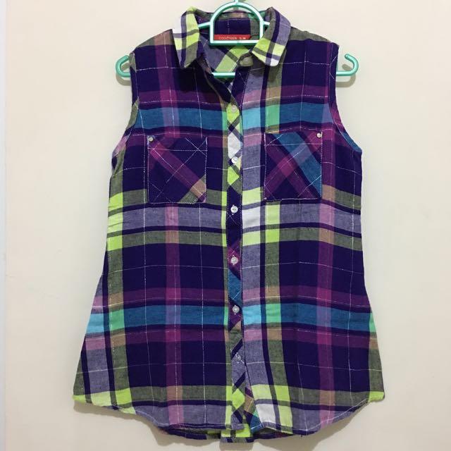 Woman's Checkered Top In Purple / Ungu