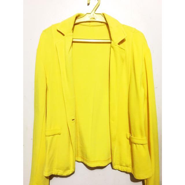 Yellow Cotton Blazer