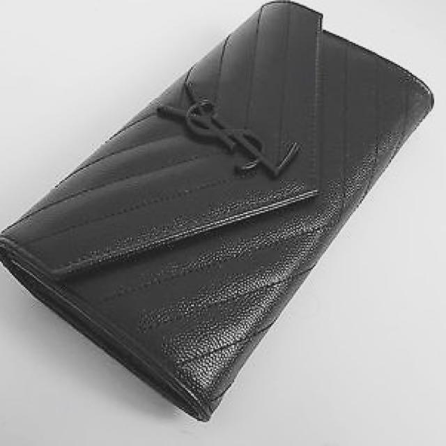 64cf19eb131 Yves Saint Laurent (YSL) Monogram Laurent V-Flap Long Wallet/Clutch ...