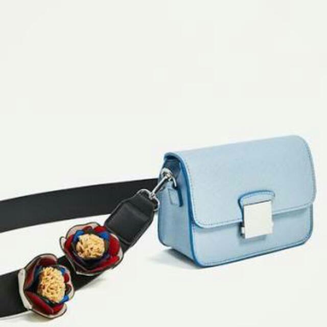 ZARA FLOWER STRAP LIGHT BLUE CROSSBODY SHOULDER SLING BAG
