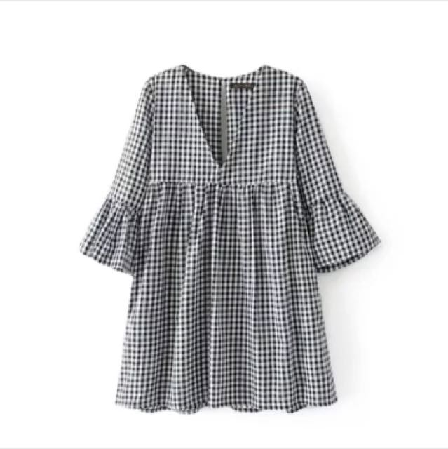 cac6cb34f6 Zara Inspired Gingham Babydoll Dress, Women's Fashion, Clothes, Dresses &  Skirts on Carousell