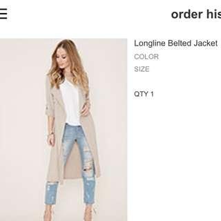 Forever 21 Longline Belted Jacket