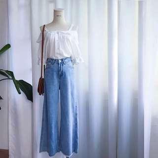 全新轉賣 牛仔寬褲 寬褲 長褲 歐美