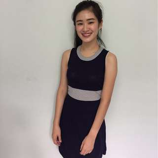 READY STOCK Sporty Navy Knitted Dress