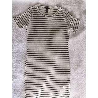 White&black Striped Ribbed Tshirt Dress