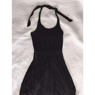 Black Halter Tie-up Dress