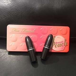 Sweet Peach Palette & 2 MAC Matte Lippies BUNDLE