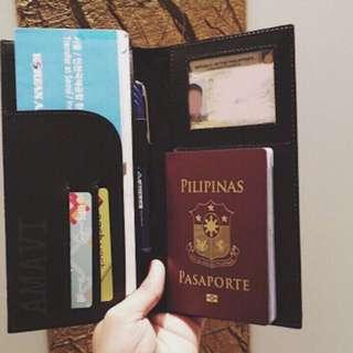 Genuine Leather Passport Boarding Pass Travel Wallet