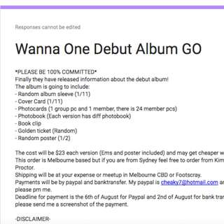 Aus GO for Wanna One debut album