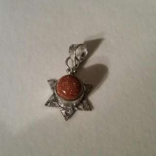 Brand New Sterling Silver Goldstone Pendant