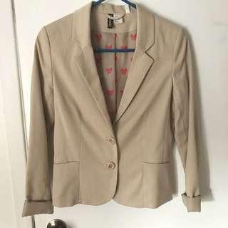 H&M Blazer Size 6 Beige Blazer