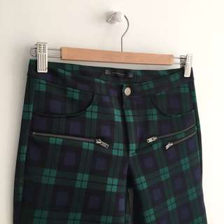 Zara Neoprene Plaid Pants