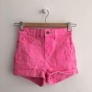 Neon Pink High Waisted Denim Jean Shorts