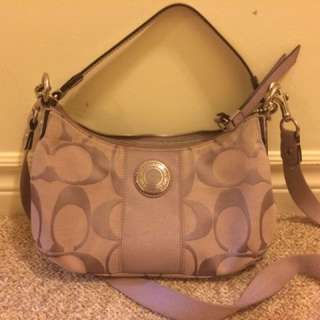 Purple Coach Cloth Handbag