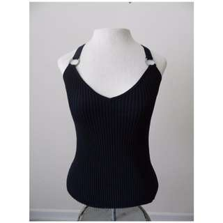 Black Ribbed Jewelled Tank Top