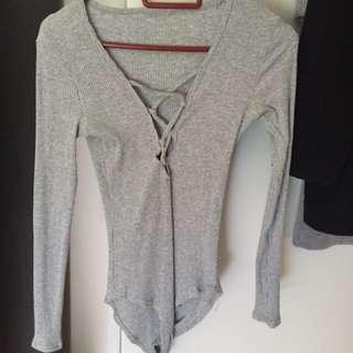 Grey Knit Leotard