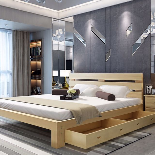 100 Timber Queen Size Bed Frame, Wooden Timber Bed Base Queen