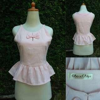 chocochips pink ribbon peplum top