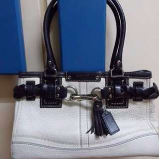 Authentic Coach Black & White Leather Bag