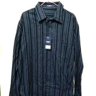 🚚 ANKL 深藍色 L號 直條紋男性襯衫