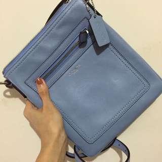 🚚 COACH全皮藍色隨身包/正品
