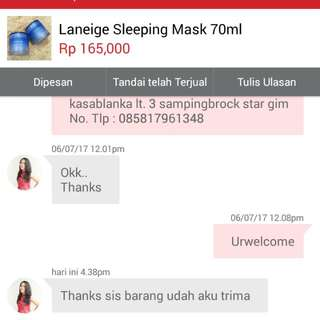 Testi Laneige Sleeping Mask 70ml