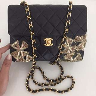 CHANEL Special Customized Bling Sequin Mini Square Flap Classic CC Turnlock & GHW. GOOD CONDITION !