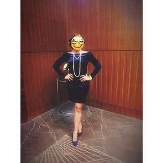 Forever 21 Formal Off Shoulder Blue Velvet Dress (used once- in very good condition)