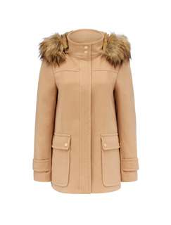 Faux Fur Collar Duffle Coat