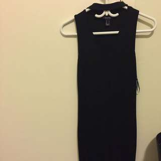 Tight BodyCon Small Black Choker Dress