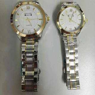 Newyork Army NYA 192 Couples Two - Tone White Dial Display Steel Watch