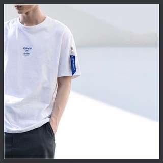 [INSTOCK] Oversized Korean White Tee Sleeve Zip Design