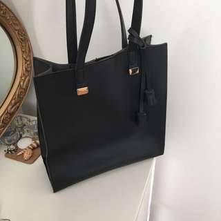 Black Shoulder Leather Suede Tote Bag
