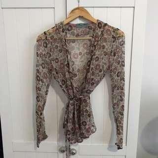 Alannah Hill Silk Chiffon Blouse | Size 8