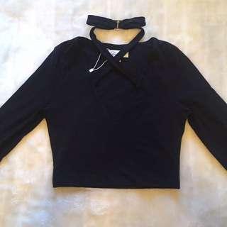Long Sleeve Black Size 10 Crop Top